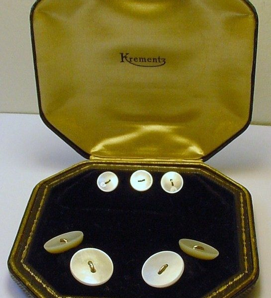 It's On eBay: Gold & Mother of Pearl Cufflink & Stud Set