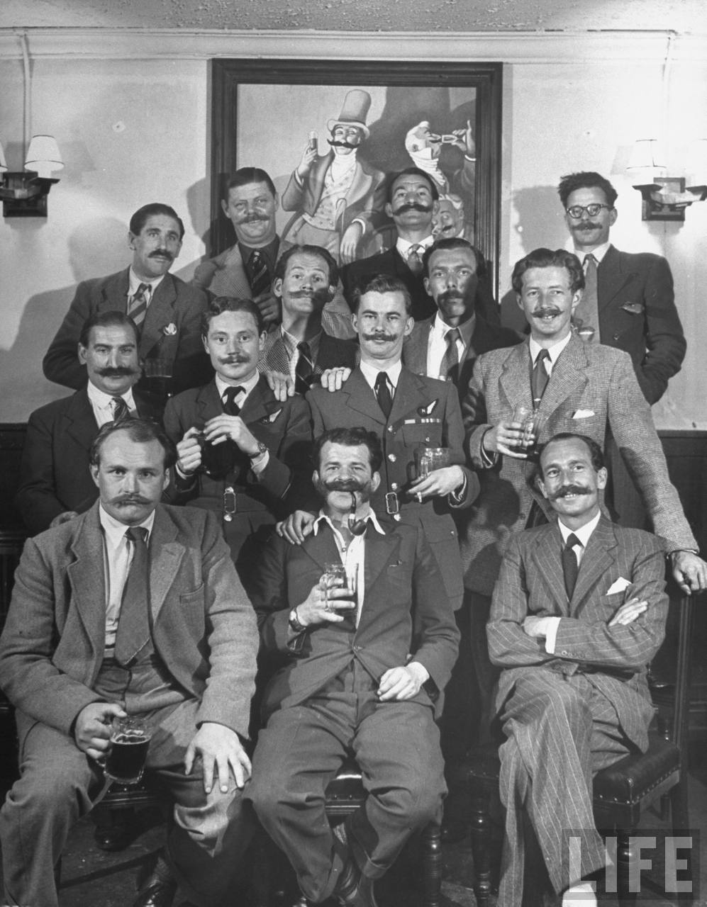 The Handlebar Club enjoys a drink.  1947.