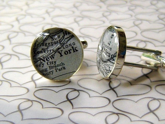 Cuff links using maps of any two towns in the world