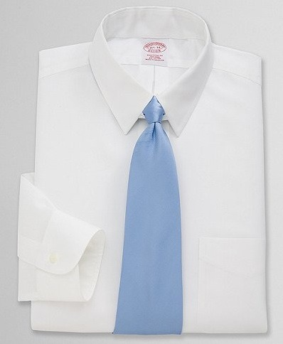 Five white shirts, button-down collars…