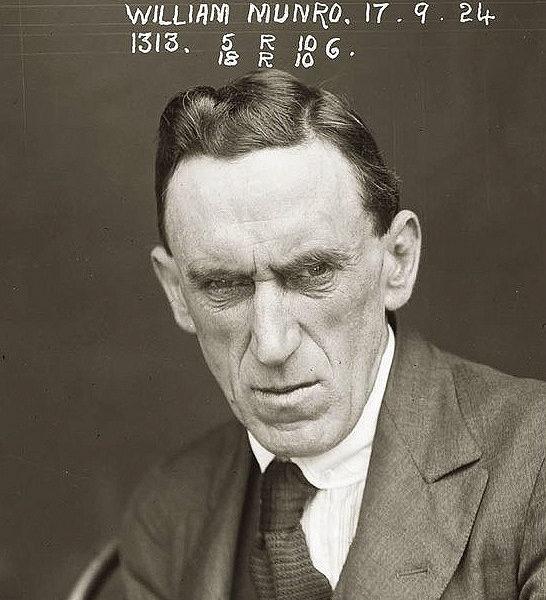 The mugshot of William Munro, 1924.
