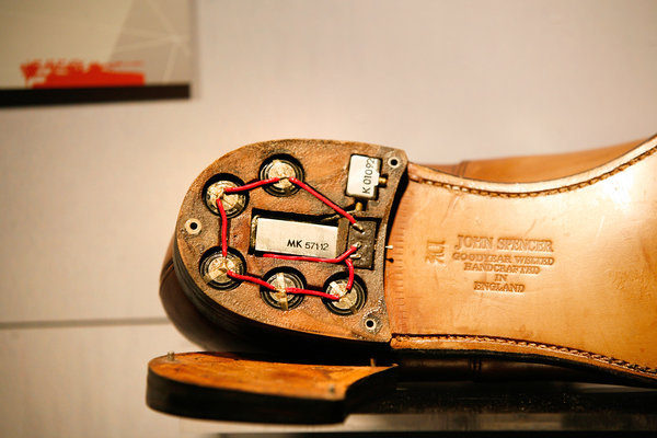 A handmade pair of shoes made for a United States ambassador to Czechoslovakia in the 1960s
