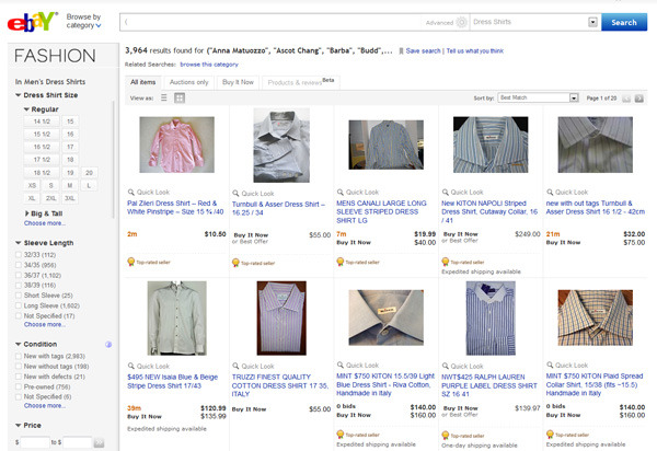 The eBay Shirt Search Megalink