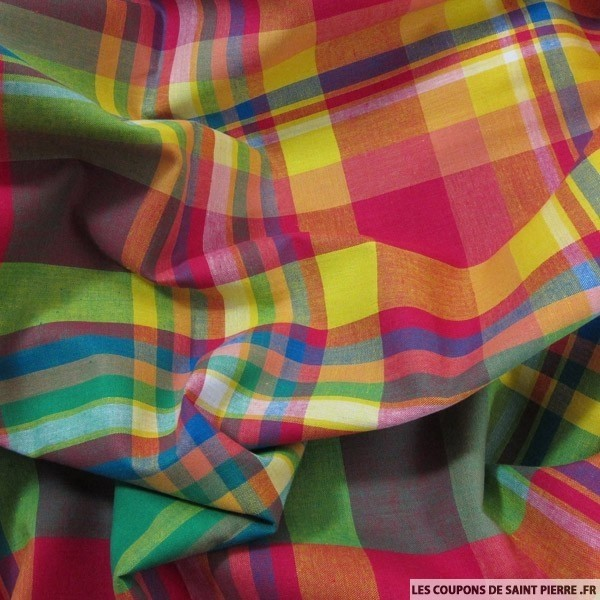 A selection of some very, very bright madras plaids from France