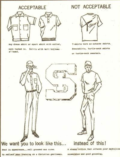 A page out of a 1960s dress code book for high school students