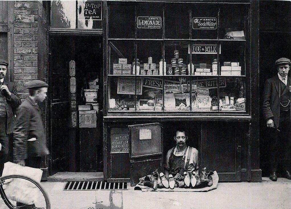 The smallest shop in London, circa 1900
