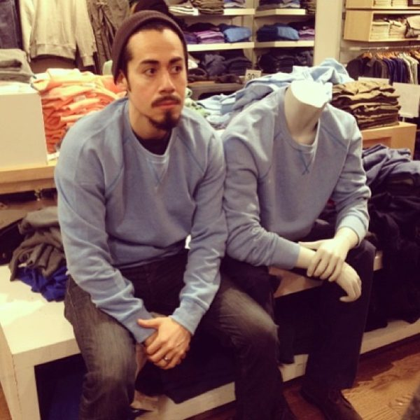 Steve here goes to The Gap and wears the outfit the mannequin is wearing