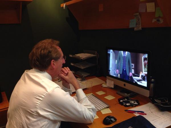 Leonard Logsdail conducts a fitting over Skype
