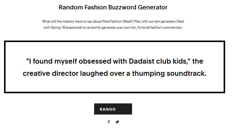 So Random: Generator Parodies Style Writing