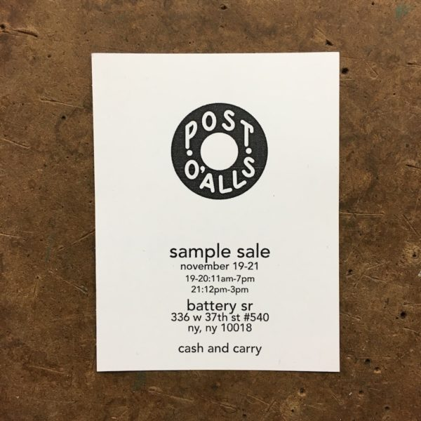 It's on Sale: Post O'Alls Sample Sale in New York