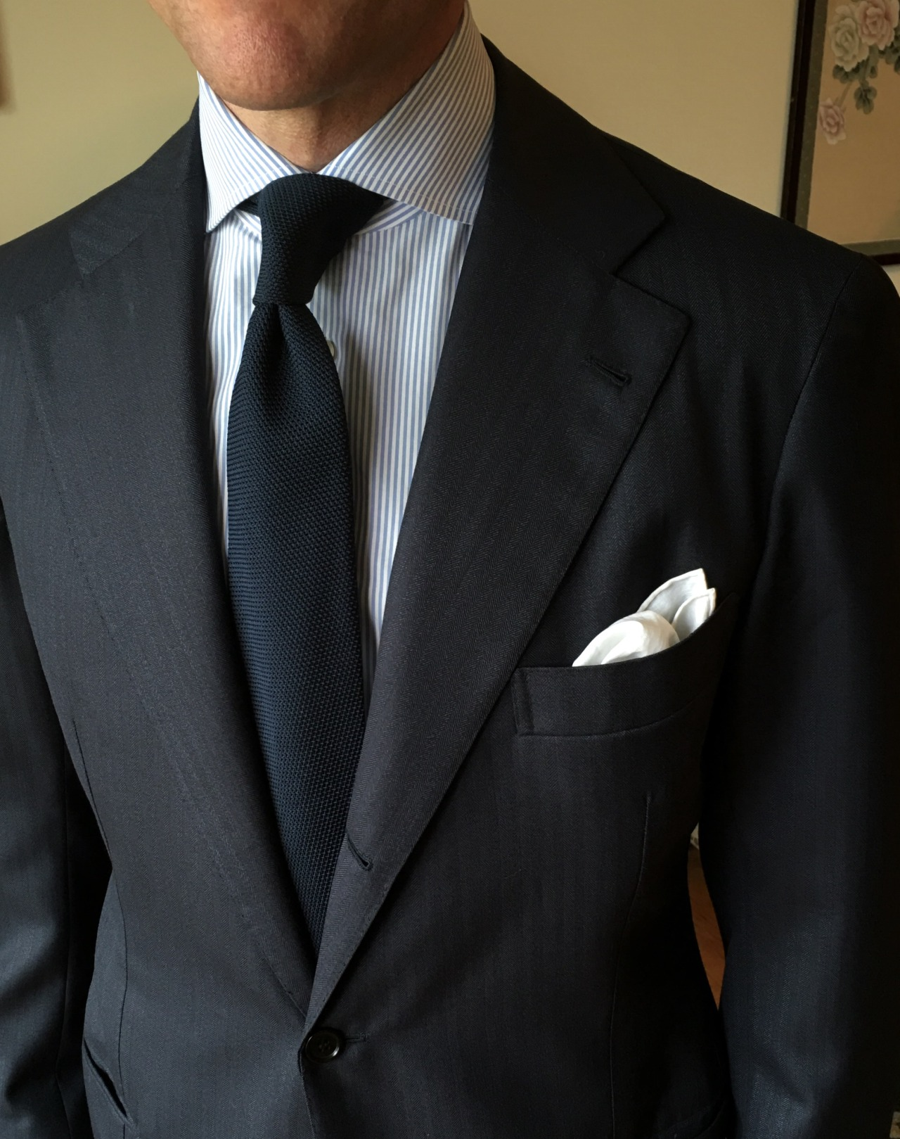 cb9a56e7f8cc It's no secret to anyone who's been reading our blog for a while, but a  solid-colored navy tie goes with everything. It's a useful reminder though  for ...
