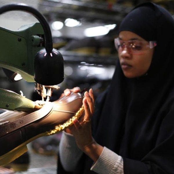 A muslim woman in LL Bean's Lewiston, Maine factory