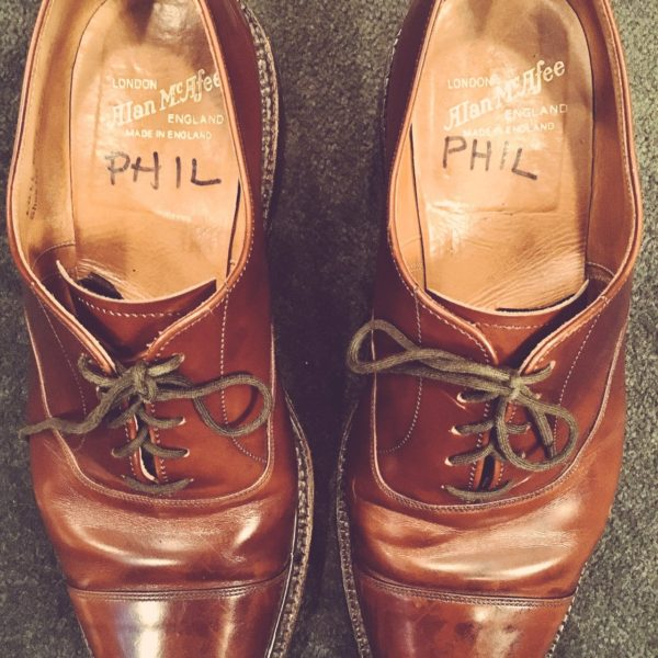Phil Hartman's shoes, in SNL's wardrobe department.