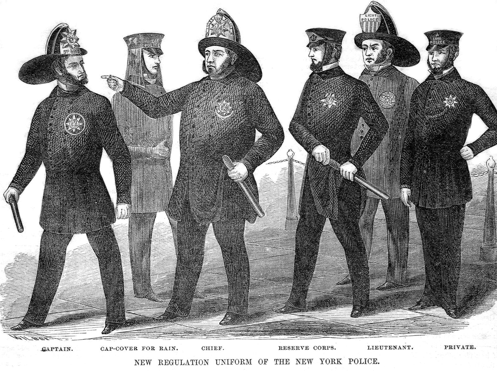 New York police uniforms circa 1854.